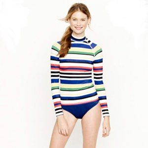 J. Crew Striped Rash Guard Swim Shirt - L